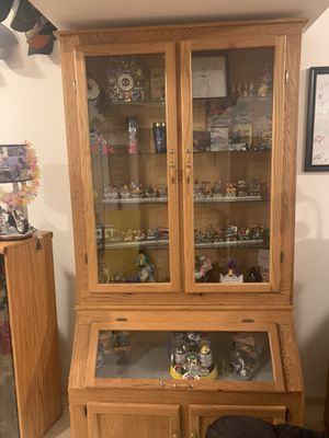 Gun cabinet converted into a decorative stand with glass shelves for Sale in Jefferson City, MO