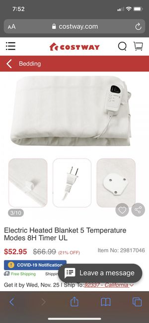 Electric Heated blanket for Sale in Garden Grove, CA