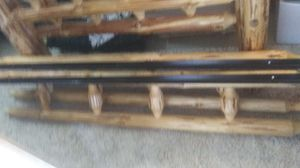 Log wood bed frame queen size must pick up today for Sale in BETHEL, WA