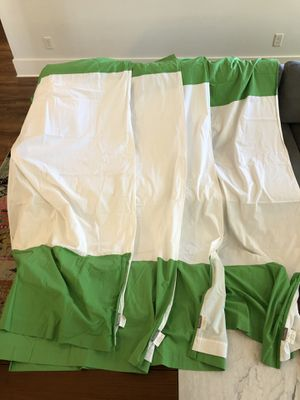"""The Land of Nod 84"""" Curtains, 4 White/Green Panels for Sale in Forest Hills, TN"""