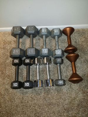 Dumbbells. 2x25lbs, 2x15lbs, 2x10lbs, 3x8lb, 2x5lbs. 134lbs for Sale in Deerfield Beach, FL