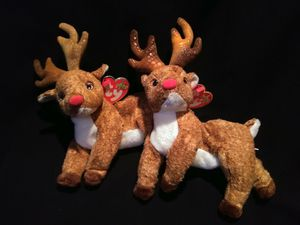 Mint Condition Retired Ty Beanie Babies Roxie The Red Nosed Reindeer Tie Dye Horns And Blue Snowflake Christmas Holiday Swing Tag for Sale in Portland, OR