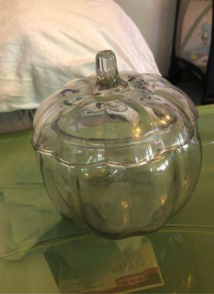 Pumpkin glass candy jar for Sale in Honey Brook, PA
