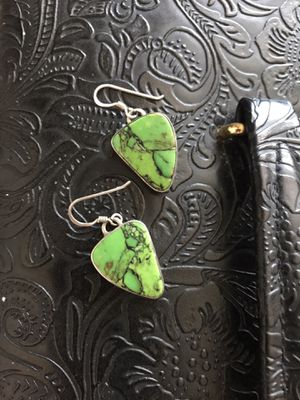 .925 Sterling Silver with Genuine Green Turquoise Earrings for Sale in Springfield, VA