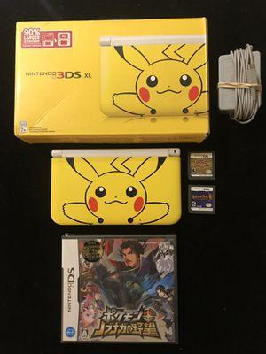 Nintendo 3DS XL Yellow Pikachu Edition+Box+Golden Sun DS Pokémon Heart Gold for Sale in Atlanta, GA