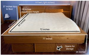 California King Bed Frame Solid Oak with MEGA built in storage + Free Sleep Number Mattress Included for Sale in Seattle, WA