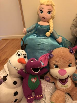 Plush toys Elsa , Olaf, Barney and puppy for Sale in Ellicott City, MD
