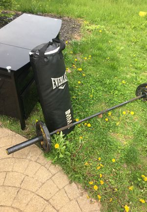 Work out equipment in good condition moving so they have to go $250 for the speed bag bunching bag and weight bench for Sale in Cleveland, OH