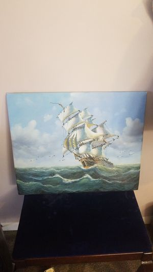 "Oil ship painting on canvas 20""x23.5"" for Sale in Alexandria, VA"