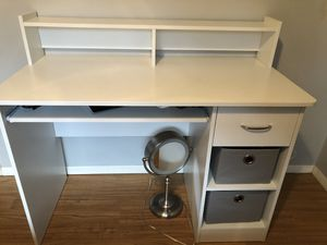 White desk with a drawer, two shelves and a slide out shelf for Sale in Chagrin Falls, OH
