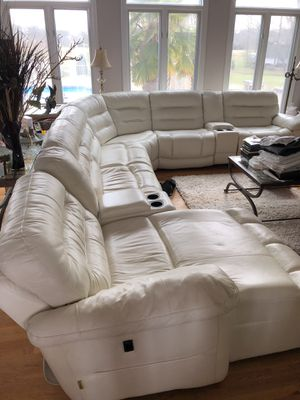 White Leather Sectional (3 Recliners) for Sale in Garner, NC