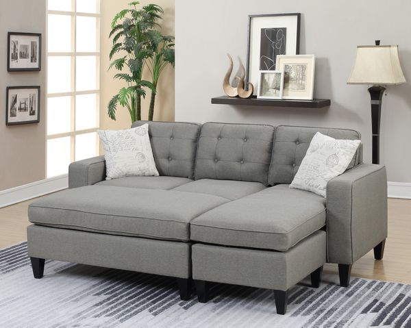 Brand New Light Grey Linen Sectional Sofa Couch + Ottoman