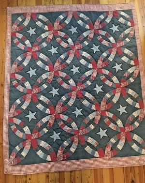 """Americana Quilt Wall Hanging 60"""" x 50"""" Throw Blanket Country Rustic decent condition, one small tear at corner as shown, fabric is faded, there is for Sale in Schnecksville, PA"""
