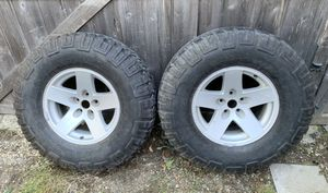 """Pair of 5x4.5 16"""" Jeep Wrangler Rubicon wheels with tires for Sale in Port Orchard, WA"""