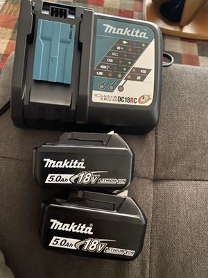 Makita 18v LXT Rapid Charger & (2) 5.0ah Battery New (Firm On Price) for Sale in San Diego, CA