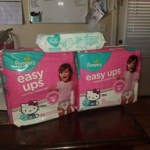 Pampers easy ups size 2t 3t with wipes for Sale in Phoenix, AZ