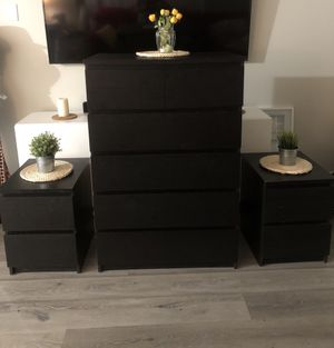 IKEA MALM BEDROOM SET (Dresser and 2 Nightstands) for Sale in Long Beach, CA