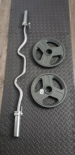 "48"" Olympic Super Curl Bar & 25LB X 2 OLYMPIC WEIGHT PLATES for Sale in El Monte,  CA"