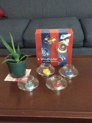 Vintage Wind-Proof candle holders and colored candles. Made in Germany. for Sale in Fresno, CA