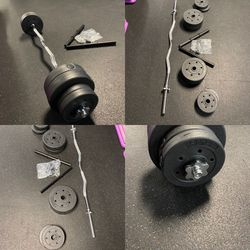 At This Price!!)40lbs Of Weights And Chrome Curl Bar All brand new in box(Today only only three left for Sale in Riverside,  CA