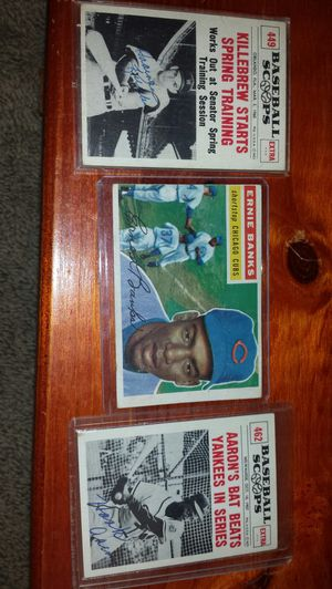Early Hank Aaron autograph, Harmon Killebrew and 1956 Ernie Banks card for Sale in Toms River, NJ