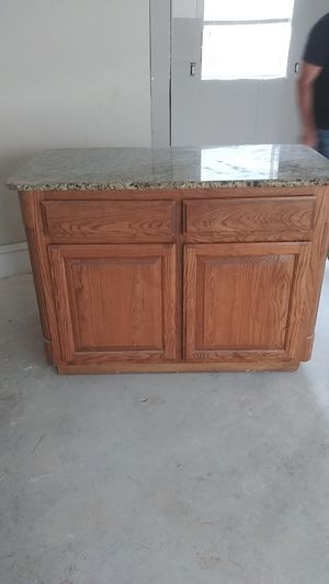 Veitnition gold granite island for kitchen on wheels cabinet doors on both sides for Sale in Dallas, TX