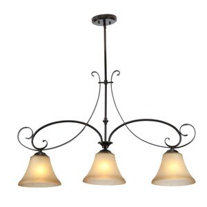 Hampton Bay 3-Light Aged Black Kitchen Island Light with Stained Glass Shade for Sale in Dallas, TX