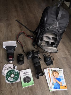 Canon EOS Rebel T3i with two lenses, Flash with diffuser, manuals, and camera backpack for Sale in Bellevue, WA