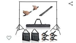 Emart Photo Video Studio 10Ft Adjustable Background Stand Backdrop Support System Kit with Carry Bag for Sale in Virginia Beach, VA