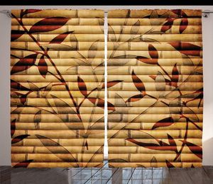 Curtains 108 x 84 Bamboo Sticks Leaves Backdrop Living Bed Room Window Patio Doors Asian Decor for Sale in Orlando, FL
