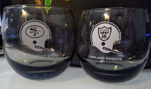 Vintage NFL Authentic Oakland Raiders and SF Niners Highball Glasses for Sale in Hayward, CA