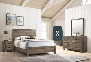 4PC QUEEN BEDROOM SET, INCLUDED BED FRAME ONE NIGHTSTAND DRESSER AND MIRROR NO MATTRESS for Sale in Scottsdale, AZ