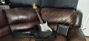 Lyon guitar with bag Peavey amp with new strap and other miscellaneous accessories for Sale in Goodyear, AZ