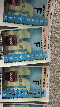 Metra Tickets: A-F, Multiple Punch Cards for Sale in Arlington Heights,  IL
