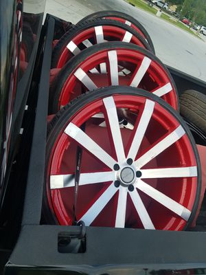24in 5lug 5x114.3 & 5x115 rims and 255/30/24 needs 1 tire soon other 3 chunky, all 4 holding air $$1250 for Sale in Marietta, GA