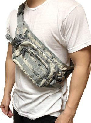 NEW! Snow Gray Camouflage Shoulder Bag / Waist Pack not supreme fanny pack cross body bag travel bag camping hiking day pack side bag sling pouch for Sale in Carson, CA