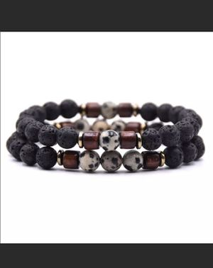 Men's Set Dalmatian and Black Lava Beads Bracelet set for Sale in King of Prussia, PA