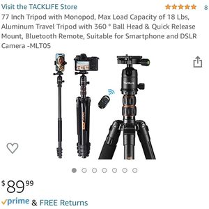 77 Inch Tripod with Monopod, Max Load Capacity of 18 Lbs, Aluminum Travel Tripod with 360 ° Ball Head & Quick Release Mount, Bluetooth Remote, Suitabl for Sale in Chicago, IL
