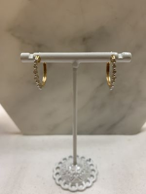 Real 14Kt Yellow Gold Diamond Hoop Earrings for Sale in Richmond, CA