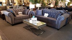 Brand new grey or navy blue velvet modern studded sofa + loveseat 2PCs set for Sale in San Diego, CA