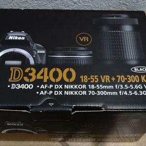 NEW Nikon D3400 DSLR Camera 2 Lens Kit for Sale in San Diego, CA