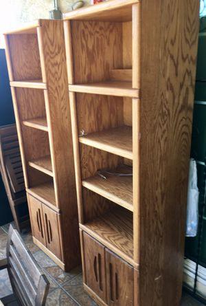 Set of lighted bookshelves (2)-solid oak for Sale in Pomona, CA