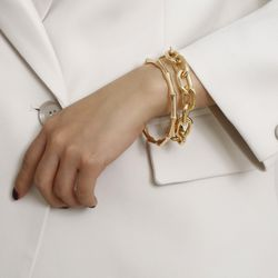 2Pcs Set Gold Plated Bamboo Thick Chain Link Chain Charm Bracelet, Gold Color for Sale in Los Angeles,  CA