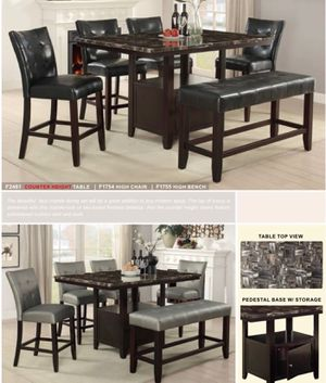 $599 CASUAL 6- PIECES DINING SET INCLUDED TABLE WITH 4 CHAIRS & BENCH THE BEAUTIFUL FAUX MARBLE DINING SET WILL BE A GREAT ADDITION TO ANY MODERN for Sale in Chino, CA