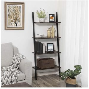 Industrial Ladder Shelf, 4-Tier Bookshelf, Storage Rack Shelves, for Living Room, Kitchen, Office, Iron, Stable, Sloping, Leaning Against The Wall, Ru for Sale in Fontana, CA