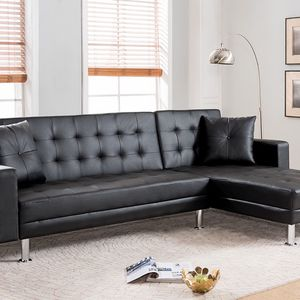 Brand New BLACK Tufted Faux Leather Sectional Sofa for Sale in Chino Hills, CA