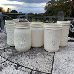 Set of 5 Upcycled Mason Jar Storage Containers Shabby Chic Cottagecore Farmhouse Rustic Decor Accents Storage for Sale in Madison,  NC