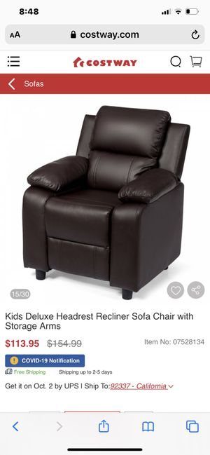 Kids Deluxe Headrest Recliner Sofa Chair with Storage Arms for Sale in Riverside, CA