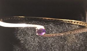 Beautiful real amethyst, diamond crushed bangle bracelet for Sale in Silver Spring, MD