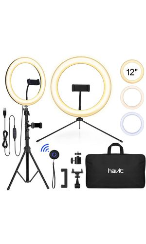 Havit 12'' LED Ring Light with Tripod Stand & Adjustable Phone Holder, Bluetooth Remote Control and Carry Bag for Live Stream/Makeup/YouTube Video/Ph for Sale in North Bethesda, MD